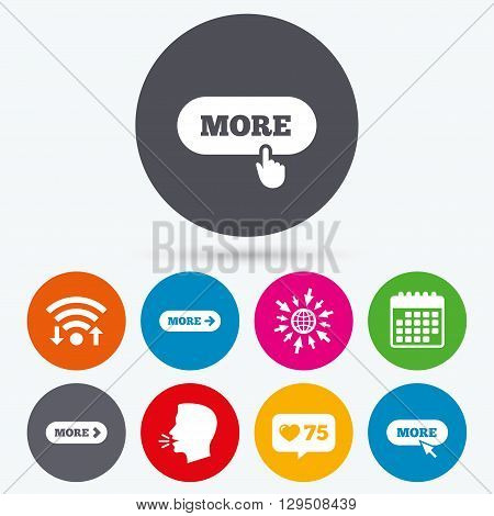 Wifi, like counter and calendar icons. More with cursor pointer icon. Details with arrow or hand symbols. Click more sign. Human talk, go to web.