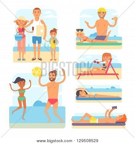 People on beach playing jogging surfing icons set isolated vector illustration. Beach people summer leisure and vacation travel holiday beach people. Beach people tropical enjoyment sky outdoors.