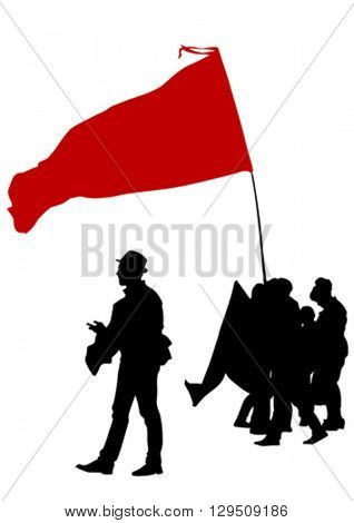 People with flags on white background