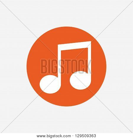 Music note sign icon. Musical symbol. Orange circle button with icon. Vector