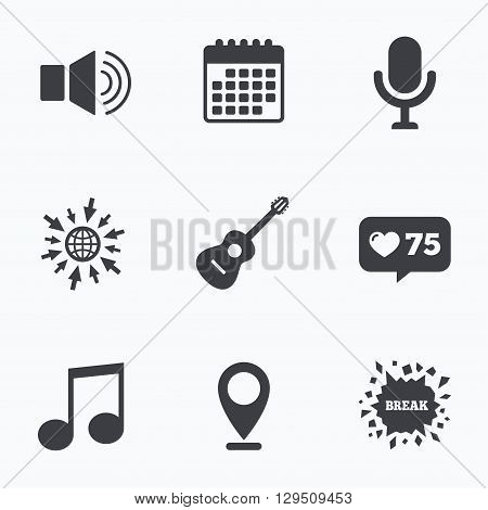 Calendar, like counter and go to web icons. Musical elements icons. Microphone and Sound speaker symbols. Music note and acoustic guitar signs. Location pointer.