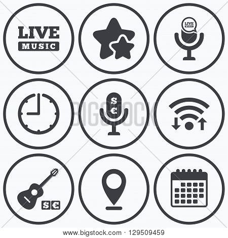 Clock, wifi and stars icons. Musical elements icons. Microphone and Live music symbols. Paid music and acoustic guitar signs. Calendar symbol.