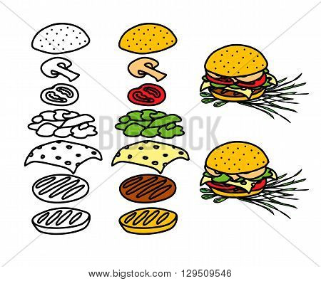 Hand drawn hamburger. Fast food burger components. Hamburger separated and composed. Doodles sketchy vector illustration of sandwich.