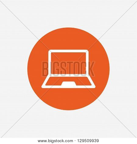 Laptop sign icon. Notebook pc symbol. Orange circle button with icon. Vector