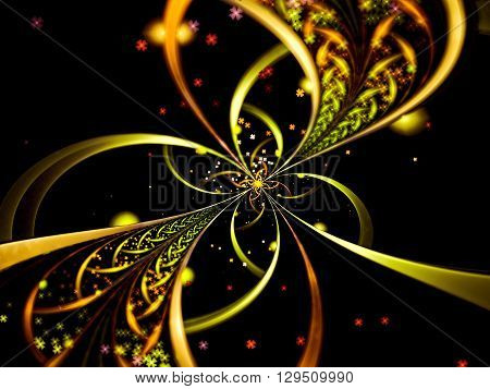 Abstract selective focus background - computer-generated image. Surreal flower like brooch with delicate petals and beads. Fractal background or graphic design element