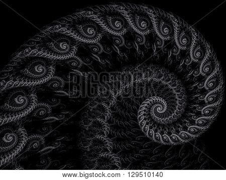Abstract fractal spiral - computer-generated image. Fractal artwork - lace spiral closeup. . Monochrome pattern for banners, posters, prints, web design