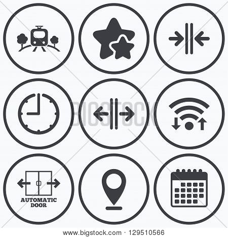 Clock, wifi and stars icons. Train railway icon. Overground transport. Automatic door symbol. Way out arrow sign. Calendar symbol.