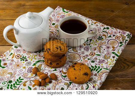 Cookies almond and tea. Tea time. Homemade cookies. Sweet dessert. Homemade biscuit. Breakfast cookies. Tea cup
