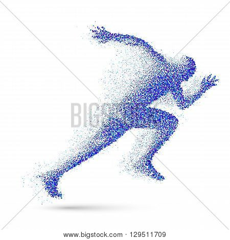 Running Man in the Form of Blue Particles