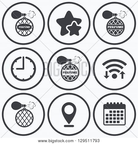 Clock, wifi and stars icons. Perfume bottle icons. Glamour fragrance sign symbols. Calendar symbol.