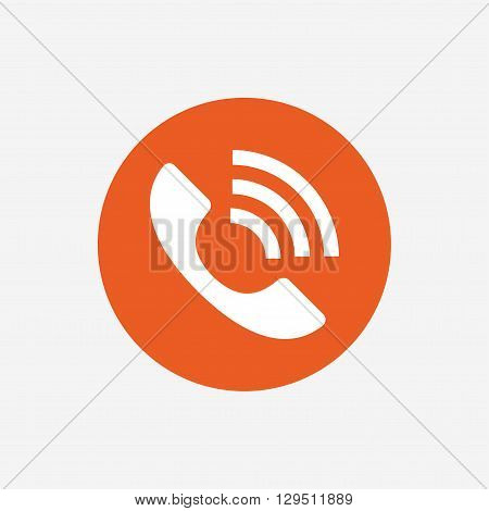 Phone sign icon. Support symbol. Call center. Orange circle button with icon. Vector