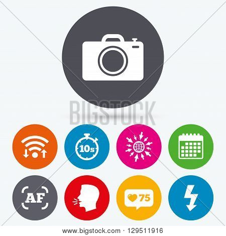 Wifi, like counter and calendar icons. Photo camera icon. Flash light and autofocus AF symbols. Stopwatch timer 10 seconds sign. Human talk, go to web.