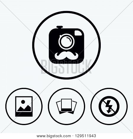 Hipster retro photo camera with mustache icon. No flash light symbol. Landscape photo frame. Icons in circles.