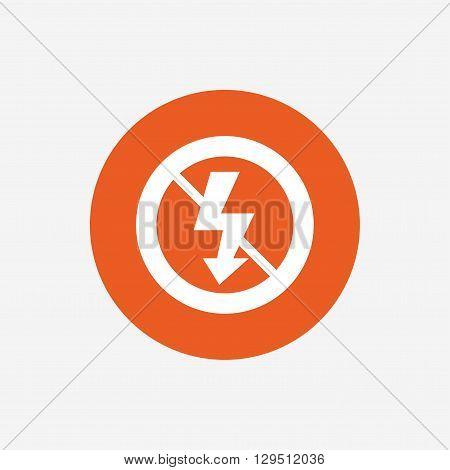 No Photo flash sign icon. Lightning symbol. Orange circle button with icon. Vector