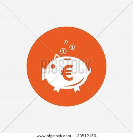 Piggy bank sign icon. Moneybox euro symbol. Orange circle button with icon. Vector