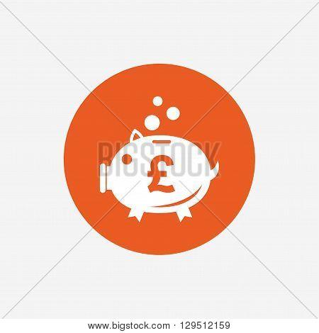 Piggy bank sign icon. Moneybox pound symbol. Orange circle button with icon. Vector