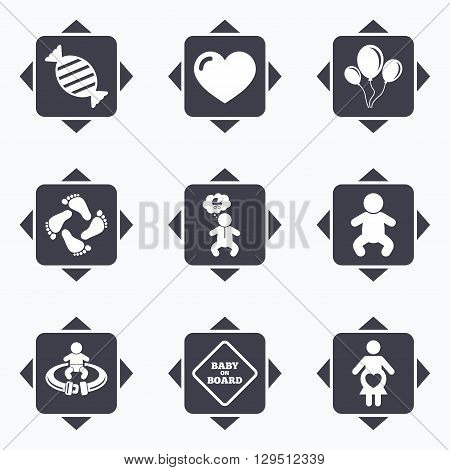 Icons with direction arrows. Pregnancy, maternity and baby care icons. Candy, strollers and fasten seat belt signs. Footprint, love and balloon symbols. Square buttons.