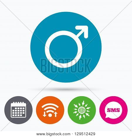 Wifi, Sms and calendar icons. Male sign icon. Male sex button. Go to web globe.
