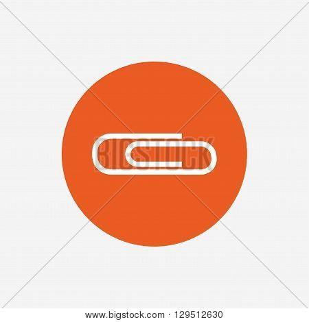 Paper clip sign icon. Clip symbol. Orange circle button with icon. Vector