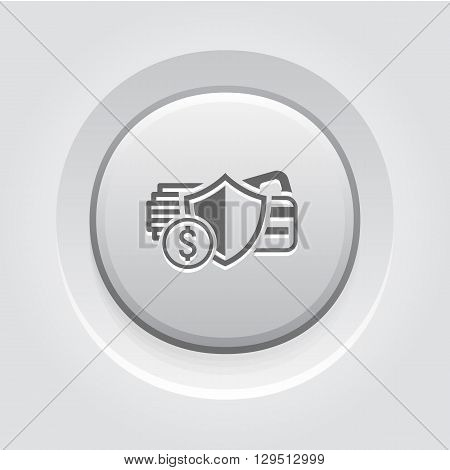 Secure Transaction Icon. Business Concept Grey Button Design