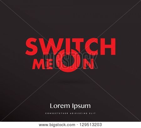 switch me on typography , vector , red & black