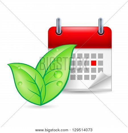 Green leaves and calendar with marked day. Eco event icon