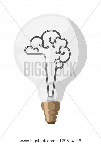 Light bulb brain icon. Brain lamp vector and brain lamp light bulb power symbol. Brain lamp creative technology energy and brain lamp innovation design inspiration icon. Electricity mind.