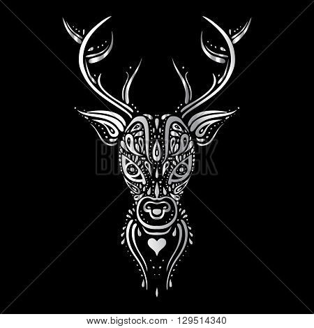 Deer head. Tribal pattern Polynesian tattoo style. Vector illustration.