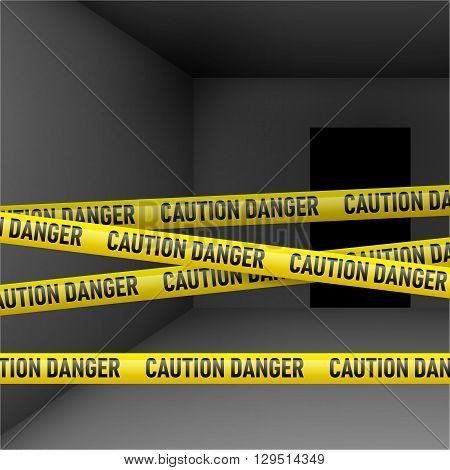 Dark room with caution and danger yellow tape. Crime or emergency scene