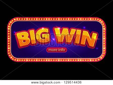 Big Win banner for online casino, poker, roulette, slot machines, card games.