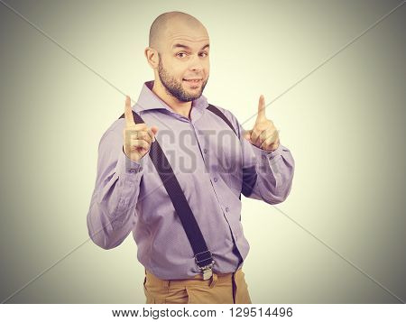 Portrait Of A Man Came Up With The Idea And Holding Thumbs Up.