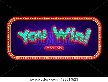 You Win banner for online casino, poker, roulette, slot machines, card games.