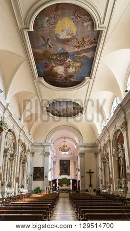 Marostica Italy - April 12 2016: Nave of the church of Saint Anthony Abbot.