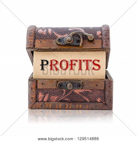 Profits word in treasure chest isolated on white background Save clipping path. Business concept.