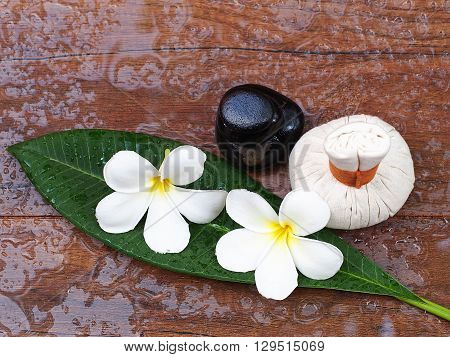 Spa massage compress balls, herbal ball with flower and rock spa, Thailand
