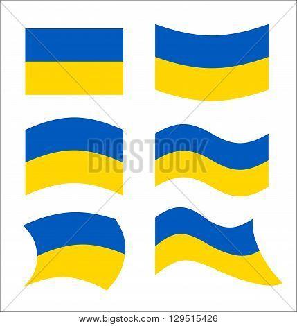 Ukraine Flag. Set Flags Ukrainian Republic In Various Forms. Developing Flag Of European Ukrainian S