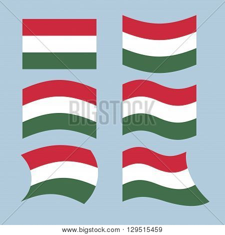 Hungary Flag. Set Of Flags Of Hungarian Republic In Various Forms. Developing Hungarian Flag Europea