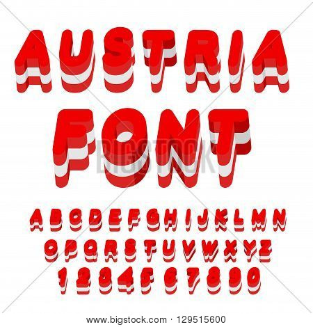 Austria Font. Austrian Flag On Letters. National Patriotic Alphabet. 3D Letter. State Color Symbolis