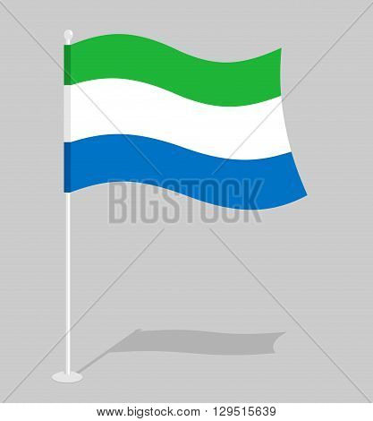 Sierra Leone Flag. Official National Mark Of Sierra Leone Republic. Traditional Growing State Flag I