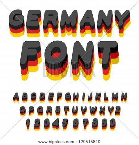 Germany Font. German Flag On Letters. National Patriotic Alphabet. 3D Letter. State Color Symbolism