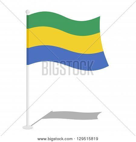 Gabon Flag. Official National Symbol Of Gabonese Republic. Traditional Gabonese Flag Developing Stat