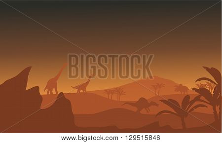 Silhouette of dinosaur in fields at the afternoon