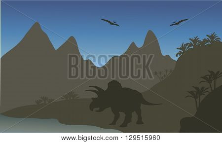Silhouette of pterodactyl and triceratops in the riverbank