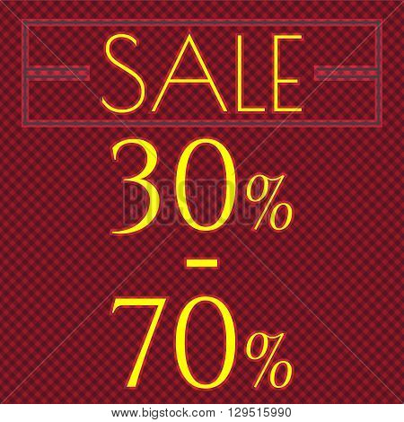 Sale discount labels. Special offer price signs. 30 - 70 percent off reduction symbol.