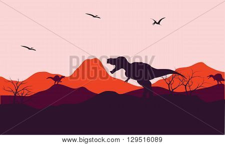 Silhouette of one T-Rex in hill with moouontain backgrounds