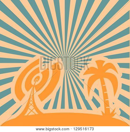 Wi Fi network and palm symbols grows to sun . Mobile gadgets technology relative vector image. Sun rays background.