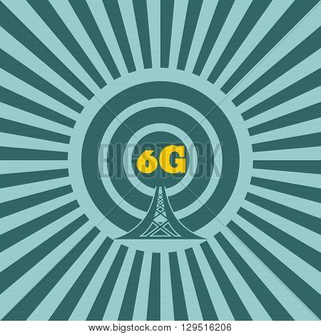 Wi Fi Network Symbol . Mobile gadgets technology relative vector image. Sun rays background. 6G text
