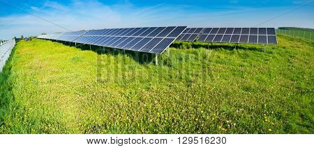 Electric solar cell on green field