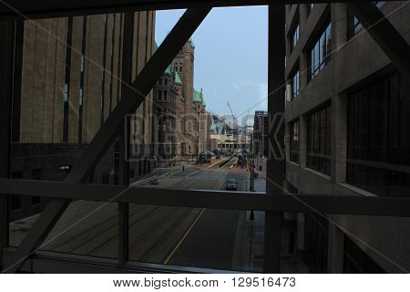 A view from inside the skyway in Minneapolis, MN
