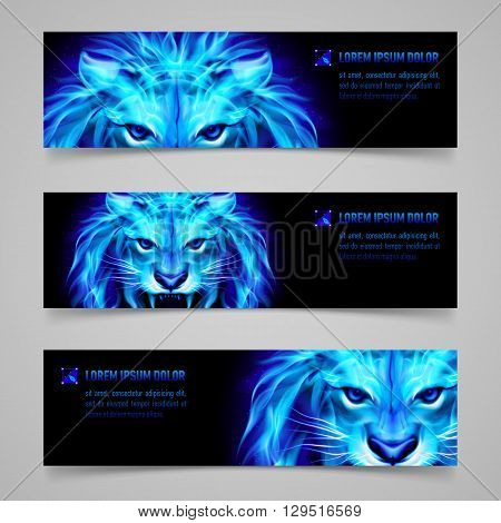 Set of banners with mystic lion in blue flame